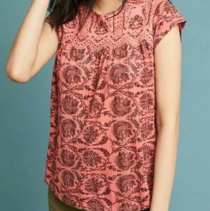 New Anthropologie Penelope Printed Top pink.Small